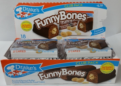 Drakes Cakes Funny Bones Club packs 3 Bones in a Package